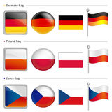 Germany and Poland, Czech Flag Icon. The world national Icon Des Royalty Free Stock Images