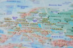 Germany, Poland and other countries of Europe in close up on the map. Focus on the name of country. Vignetting effect.  stock image