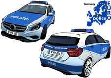 Germany Police Car. Colored Illustration from Series Europol, Vector Stock Photos