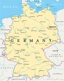 Germany Political Map. With capital Berlin, national borders, most important cities, rivers and lakes. English labeling and scaling. Illustration stock illustration