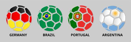 Germany, Portugal, Brazil, Argentina banner with soccer balls. royalty free illustration