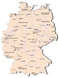 Germany railway map. Vectorial map of Germany with provinces and of railway. No gradients and blends. Every province is separate curve. Names of  provinces Stock Photos