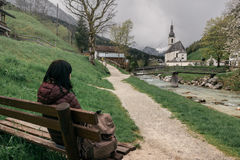 Germany. Ramsau. The girl traveler rests Royalty Free Stock Image