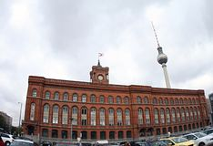 Germany Red City Hall of Berlin and tv tower.2018. Every person coming to Berlin must see the obligatory red city house and the famous TV tower royalty free stock photography