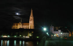 Germany,Regensburg at night Stock Photos