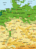 Germany Relief map. Highly detailed physical map of Germany,in vector format,with all the relief forms,regions and big cities Stock Photos