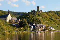 Germany,Rhineland,Moselle,View of river and castle Me Royalty Free Stock Photo