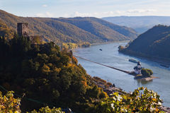 Germany,Rhineland,VIew of pfalz and gutenfels castle Royalty Free Stock Photos
