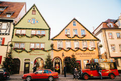 Germany, Rothenburg ob der Tauber, December 30, 2017: Decorated in a Christmas style car next to a toy store. Kathe. Rothenburg ob der Tauber, December 30, 2017 royalty free stock photos