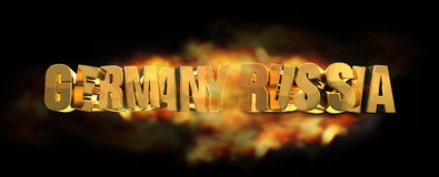 Germany russia fire flames 3d render. Illustration Royalty Free Illustration