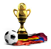Germany Russia and Qatar flags golden football soccer Cup Stock Photos