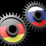 Germany-Russia relations. 3d gears with flags Royalty Free Stock Images