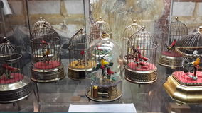 From Germany's musical instruments museum. Museum of musical instruments from Germany, automatic mechanical singing birds Stock Photos