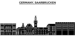 Germany, Saarbrucken architecture vector city skyline, travel cityscape with landmarks, buildings, isolated sights on Royalty Free Stock Photos