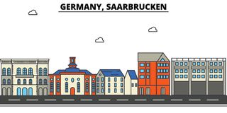 Germany, Saarbrucken. City skyline architecture  Royalty Free Stock Images