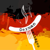 Germany Sausage. Germany banger. Sausage on a fork. Traditional delicacy in color of  flag. Vector illustration. Ppresent German quality.vector Stock Photo