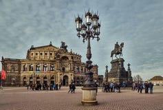 germany saxony Den gamla mitten av Dresden Operateater arkivbilder