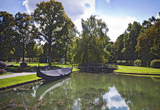 Germany, Schleissheim park, panoramic view of the channel with g Royalty Free Stock Images