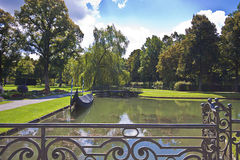 Germany, Schleissheim park, panoramic view of the channel with g Stock Photos