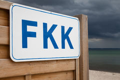 Germany, Schleswig-Holstein, Baltic Sea, Sign FKK at beach. Germany, Schleswig-Holstein, Baltic Sea with Sign FKK at beach (nudist beach sign Stock Photography