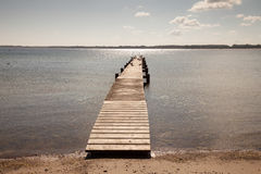 Germany, Schleswig-Holstein, Baltic sea, wooden boardwalk Stock Photos