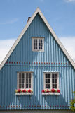Germany, Schleswig-Holstein, House, blue facade, gable Royalty Free Stock Photo