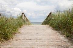 Germany, Schleswig-Holstein, wooden boardwalk Stock Images