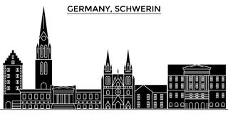 Germany, Schwerin architecture vector city skyline, travel cityscape with landmarks, buildings, isolated sights on Royalty Free Stock Image