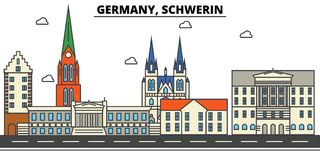 Germany, Schwerin. City skyline architecture . Editable Royalty Free Stock Image