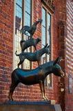 Germany. Sculpture `Bremen Town Musicians` in Bremen. February 14, 2018 stock photos