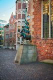 Germany. Sculpture `Bremen Town Musicians` in Bremen. February 14, 2018. Germany. Bremen. Sculpture `Bremen Town Musicians` in Bremen. February 14, 2018 stock images