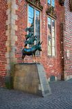 Germany. Sculpture `Bremen Town Musicians` in Bremen. February 14, 2018. Germany. Bremen. Sculpture `Bremen Town Musicians` in Bremen. February 14, 2018 stock photography