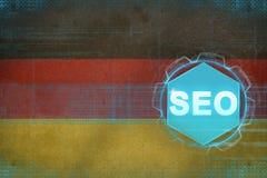 Germany seo (search engine optimization). SEO concept. Germany seo (search engine optimization). SEO concept on flag background royalty free illustration
