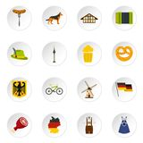 Germany set flat icons Royalty Free Stock Photos
