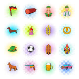 Germany set icons, comics style Stock Image