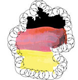 Germany shape of the country colored in national flag colors and Stock Photo