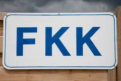 Germany, Sign FKK at beach Royalty Free Stock Photo