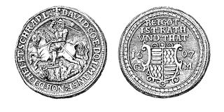 Germany, silver taler from 1607 , engraving. St. George silver taler from 1607 of David Graf von Mansfeld-Hinterort, vintage engraving Royalty Free Stock Images