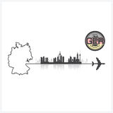 Germany Skyline Buildings Silhouette Background Royalty Free Stock Images