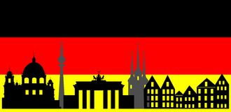 Germany  skyline and flag Stock Photos