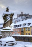 germany snow wurzburg royaltyfria bilder