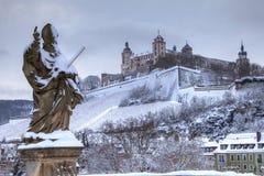 germany snow wurzburg Arkivfoto