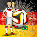 Germany soccer player with cup. Original elaboration about german player stock illustration