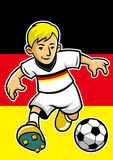Germany soccer player with flag background Royalty Free Stock Photo