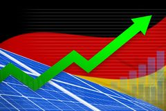 Germany solar energy power rising chart, arrow up - modern natural energy industrial illustration. 3D Illustration stock illustration
