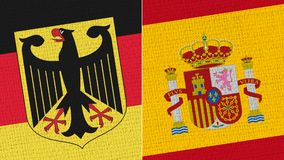 Germany and Spain Flag - Fabric Texture royalty free illustration