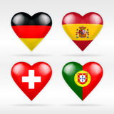 Germany, Spain, Switzerland and Portugal heart flag set of European states Stock Photography