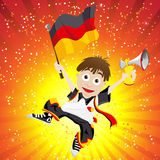 Germany Sport Fan with Flag and Horn Royalty Free Stock Photography