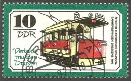 Traffic Museum of Dresden. Germany - stamp 1977, Edition Means of transport, Trams, Series Traffic Museum of Dresden, Electric streetcar motor coach in 1896 Royalty Free Stock Image