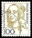 Elector of Brandenburg Luise Henriette von Oranien. Germany - stamp 1994: Edition on Women in German History, shows Elector of Brandenburg Luise Henriette von stock image